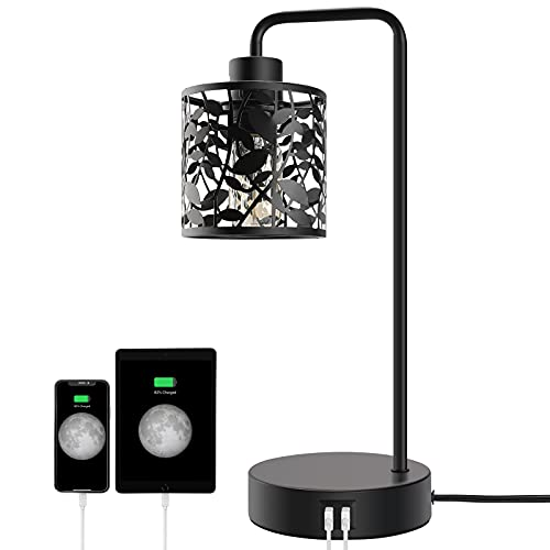TxlovestLyming Industrial Touch Control Table Lamps with 2 USB Ports & AC Outlet, 3-Way Dimmable Bedside Nightstand Reading Lamp with Glass Shade for Bedroom Office, Daylight White E26 Bulbs Included