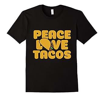 Men's Peace love tacos t-shirt funny taco lover t-shirt  3XL Black