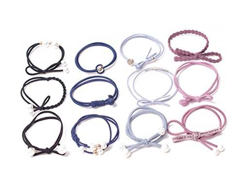 yannothing 12PCS Cute Girls Hair Tie Bands Rabbit Ear Hair Tie Bands Ropes Ponytail Holder Bow Tie Bands Women Bow Hair Tie Decor Elastic Hair Rubber Band Rope Ribbon Hair Bow