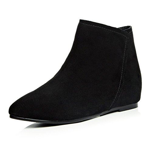Heighten Black Round Boots Toe Frosted Zipper Inside Girls BalaMasa A1wqnz