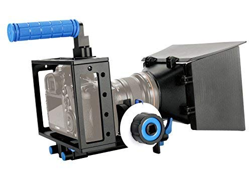 SunSmart Pro 5D Mark II Rig Cage+Top Handle+15mm Aluminum Rod Block Plate+Follow Focus+Matte Box For DSLR Camera/Video and Camcorders Such As Canon 550D 500D 60D 50D 40D 5D,5D2 5D3 1Ds, Nikon D700 D300 D90 D7000 D5000 D3100 D3000, Fuji, Olympus, Pentax SLR DSLR