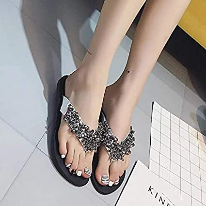 88b83cce0c2d19 Image Unavailable. Image not available for. Color  HuWang Summer Shoes  Woman Rivet Glitter Designer Platform Sandals Women Bling Flip Flops Black  Silver