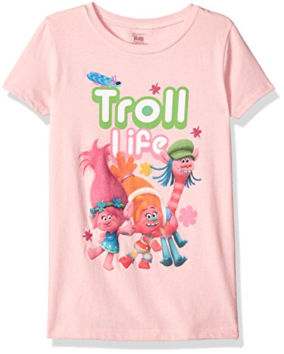 Trolls Girls' Little Girls' Movie Life Short Sleeve T-Shirt, Light Pink, Large/6X -