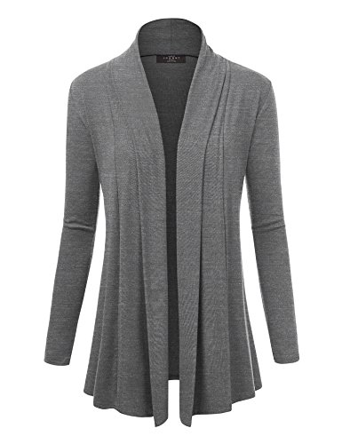 Lock and Love WSK1301 Womens Open Draped Knit Shawl Cardigan XL Heather_Dark_Grey by Lock and Love (Image #6)