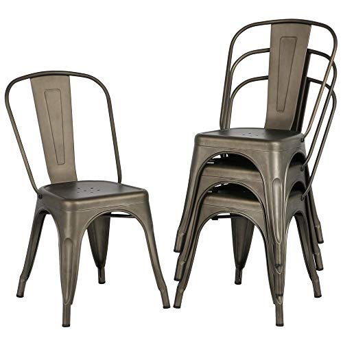 Topeakmart Classic Iron Metal Dinning Chairs Indoor-Outdoor Use Chic Dining Bistro Cafe Side Barstool Bar Chair Coffee Chair Gun Metal (Set of 4) (Bistro Chic)