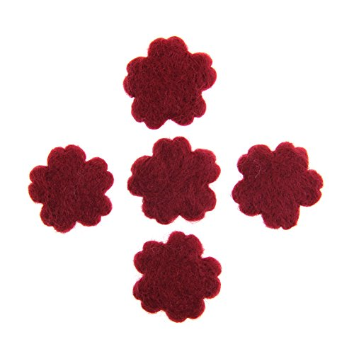 Zasy Needle Wool Felt Flowers 45mm Cookies for DIY Pendants Fashion Jewelry Garland Home Party Supplies (Dark red)
