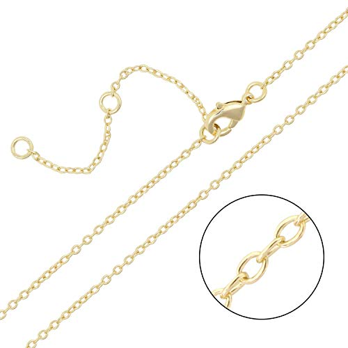 Wholesale 12 PCS 1.5MM Gold Plated Solid Brass O Chains with Extension Chains Adjustable Bulk for Jewelry Making (16-18 inch)