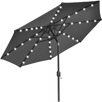 BenefitUSA New Solar 40 LED Lights Patio Umbrella Garden Outdoor Sunshade,  Black