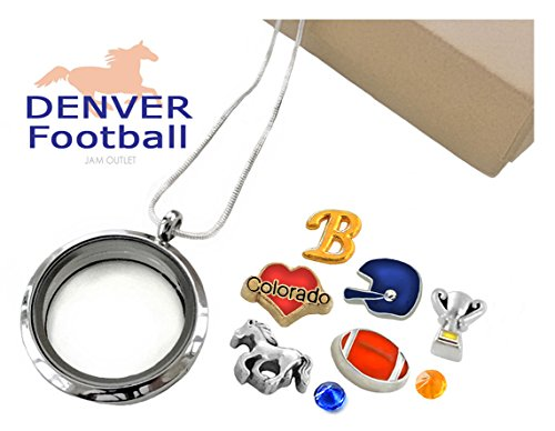 Gold Denver Broncos Charm (DENVER FOOTBALL Memory Locket Set, Floating Fan Charms, Sterling Plated Necklace, Gift Box)