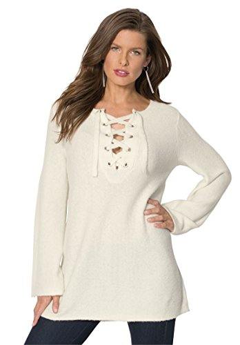 Womens-Plus-Size-Lace-Up-Henley-Sweater