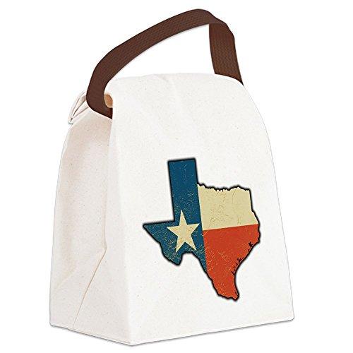 Pecan Canvas - Canvas Lunch Bag Texas Flag Texas Shaped