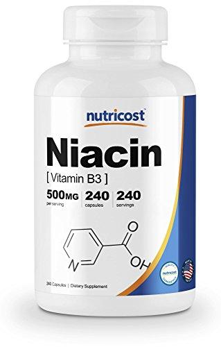 - Nutricost Niacin (Vitamin B3) 500mg, 240 Capsules - May Cause Flush, Non-GMO, Gluten Free