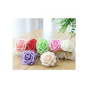 Rose Wrist Corsages Hand Flower Wedding Decoration Mariage Lace Pe Foam Artificial Brides Bridesmaid Wrist Flowers Christmas 7