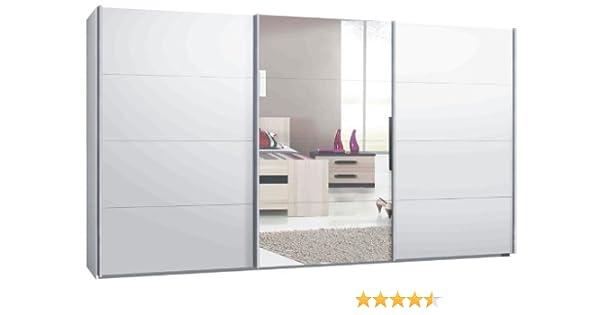 Switch – Armario ropero de puertas correderas en varios. tamaños, de 2 o 3 de puertas Cuerpo Blanco Mate,: Espejo frontal y blanco mate, madera, Weiß matt mit Spiegel, Innenfarbe: Riegelbuche, 340