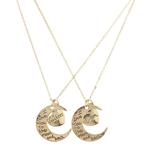 Lux Accessories Goldtone Mom Daughter I Love You to Moon and Back Necklace 2Pc (Duo Costume Ideas)