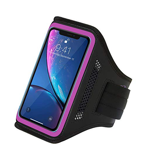 LOVPHONE iPhone XR Armband Water Resistant Sport Running Cell Phone Case for iPhone XR, Xs Max, 11, SE2, 11R with Key Holder and Card Slot for Walking, Hiking, Biking (Pink) ()