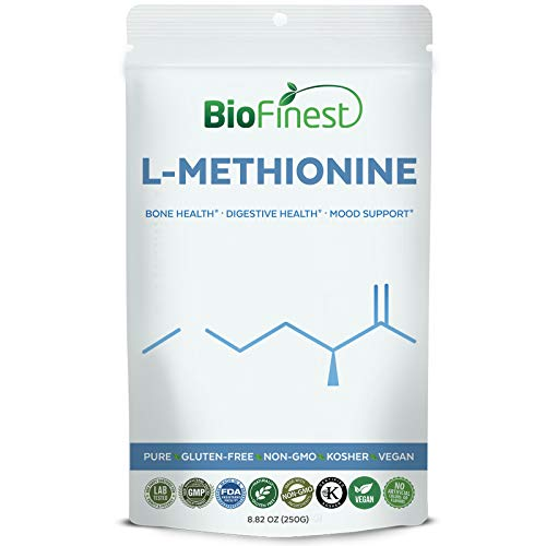 Cheap Biofinest L-Methionine Powder 500mg – Pure Gluten-Free Non-GMO Kosher Vegan Friendly – Supplement for Healthy Bone, Teeth, Digestion, Mood Support (250g)