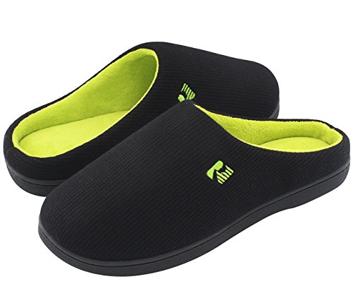 RockDove Two-Tone Memory Foam Slippers for Men, Breathable Waffle Texture Spring Summer House Shoes w/ Indoor Outdoor Sole (13-14 D(M) US, Black/Lime)