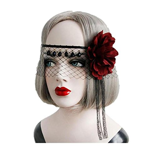 Coobbar Black Rose Queen mask Cosplay Head wreath Party Decoration for Halloween Christmas (Christmas Party Masks)