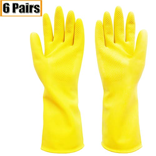 (Gloves Latex Reusable Cleaning Wash Dishes Kitchen Household Home Dishwashing Waterproof Painting Garden Pet Care Tools Car Wash Yellow and Pink)