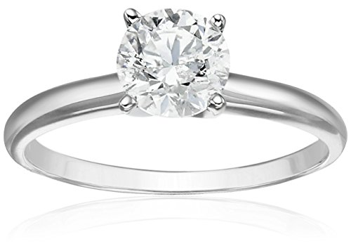 14k White Gold Diamond Solitaire Engagement Ring (1 carat, H-I Color, I2-I3 Clarity), Size 6