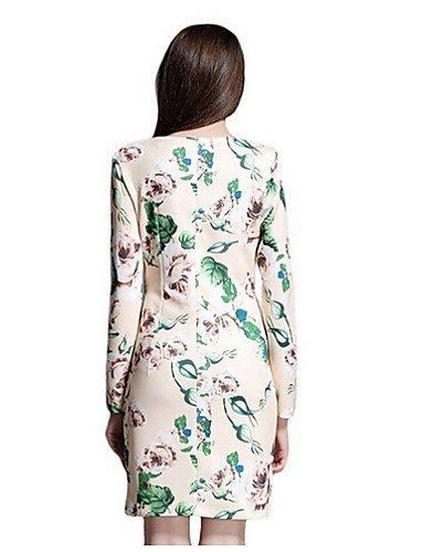 PU&PU Robe Aux femmes Gaine Simple,Fleur Col en V Au dessus du genou Polyester , beige-s , beige-s