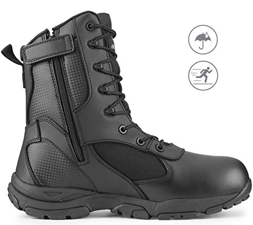 Maelstrom Men's TAC ATHLON Military Tactical Work Boots with Zipper, Style #4180Z WP, Black, 8'', Waterproof, Size 11M