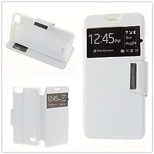 Funda Cuero Piel Blanca para Nokia Lumia 830 Blanco con Soporte e Identificador de Llamada