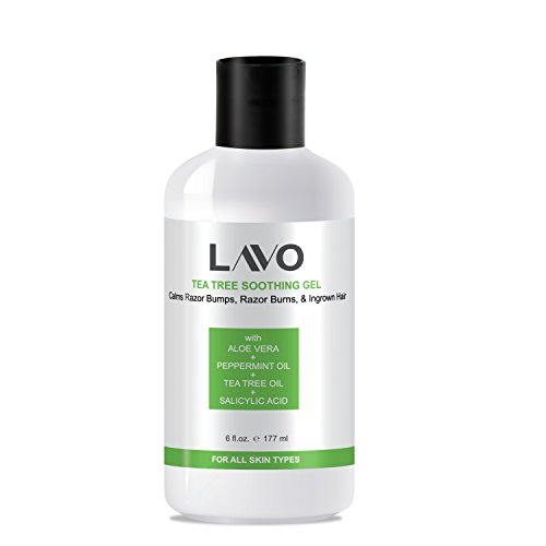 LAVO Tea Tree Gel w/Salicylic Acid - BEST Ingrown Hair Treatment - Razor Bump and Burn Remover - Bikini Lines & Acne - Use After Shaving, Hair Removal, Waxing, Laser, Electrolysis - for Men and Women