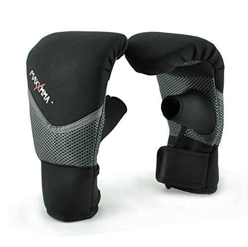 MaxxMMA Neoprene Washable Heavy Bag Gloves - Boxing Punching Training (Black, L/XL)