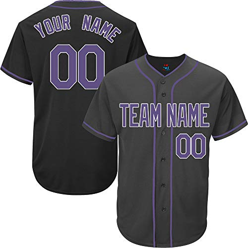 Black Customized Baseball Jersey for Women Full Button Mesh Embroidered Name & Numbers,Purple-White Size M