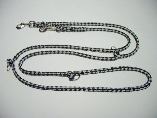 Hundeleine Doppelleine 2,80m 4fach verstellbar schwarz-grau