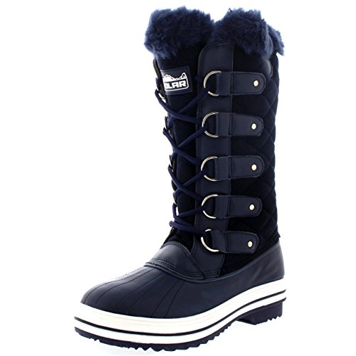 Polare Damen Nylon Hoch Winter Schneestiefel Navy Wildleder