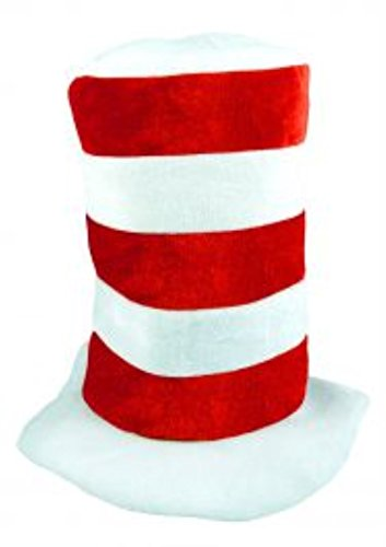 (Cat in the Hat) Tall Red and White Hat - Child, one size (White Cat Costume Child)