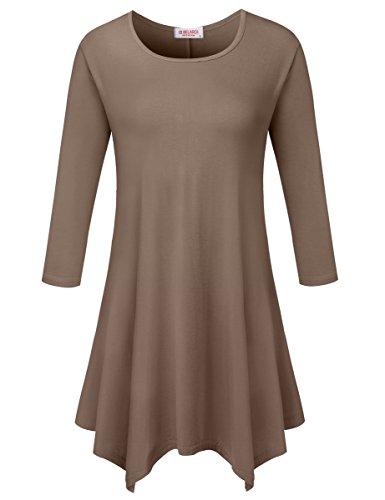 BELAROI Women 3/4 sleeve Swing Tunic Tops Plus size T Shirt (L, Khaki)