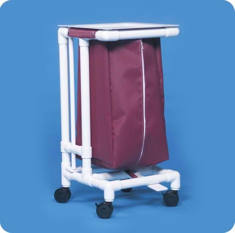 Linen Single Hamper with Foot Pedal - LH21MM - Maroon Mesh Zipper-Front Bags by Innovative Products Unlimited