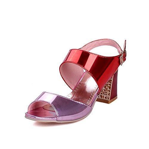 AllhqFashion Womens Kitten Heels Patent Leather Solid Buckle Open Toe Sandals Pink Tb8tnX