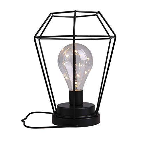 Diamond Metal cage LED Lantern Battery Powered, Cordless Accent Light with LED Edsion Style Bulb. Great for Weddings, Parties, Patio, Events for Indoors/Outdoors and More. A Hanging Hook Included.