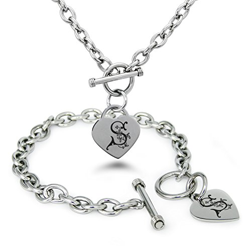Stainless Steel Letter S Initial Floral Monogram Heart Charm Toggle, Bracelet & Necklace Set