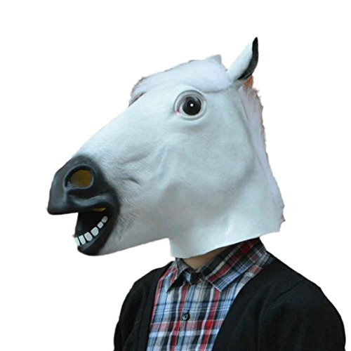 Horse Head Pattern A Costume (Jhuivd Halloween Latex Horse Mask,Funny Head Mask, Animal Pattern Halloween Costume (White))