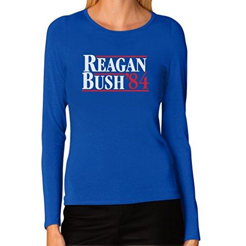 Tstars Women's - Ronald Reagan Bush '84 Long Sleeve T-shirt Medium -
