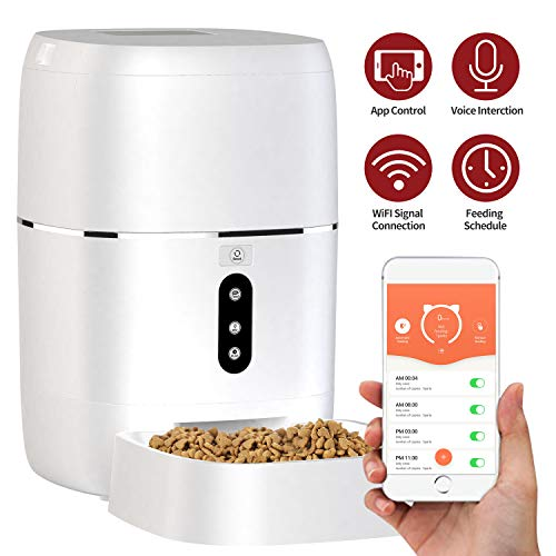 Automatic Pet Feeder, Smart Food Dispenser Dog Cat Feeder, Wi-Fi Enabled APP with Voice Recorder for iOS and Android, Programmable Timer for up to 6 Meals per Day 6L Food Capacity, Dual Power Mode