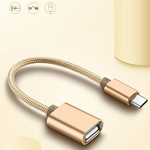 Finedayqi ❤ Metal USB C 3.1 Type C Male to USB Female OTG Data Sync Converter Adapter Cable (Gold)