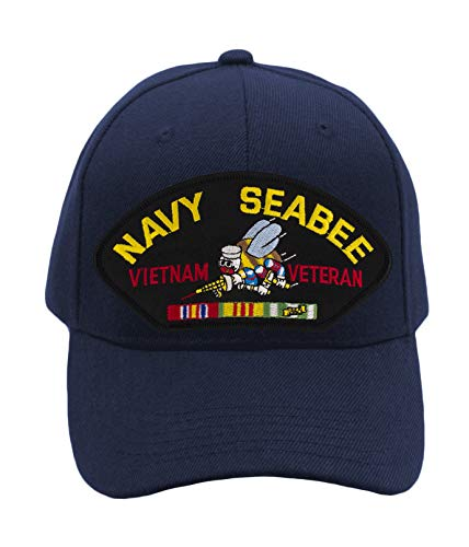 Seabees Vietnam Navy (Patchtown US Navy Seabee - Vietnam War Veteran Hat/Ballcap Adjustable One Size Fits Most (Multiple Colors & Styles) (Navy Blue, Add American Flag))