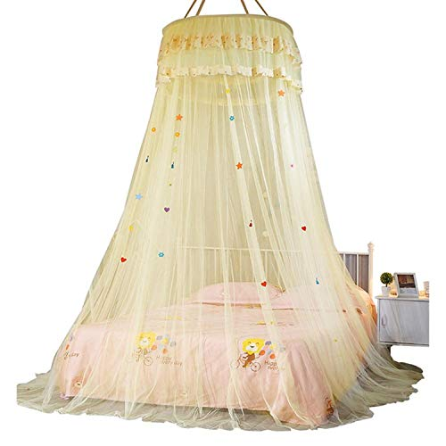 Wing Enterprises Dome Ceiling Lace Bed Canopy Princess Kid Room Mosquito Net Bed Valance Floor-Length Dome Hanging Curtain Photograph Props,Yellow ()