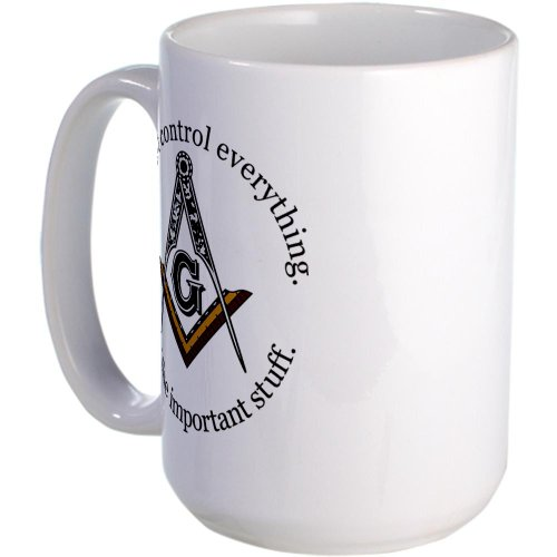 CafePress - We don't control everything Large Mug - Coffee Mug, Large 15 oz. White Coffee Cup (Freemason Coffee Cup compare prices)