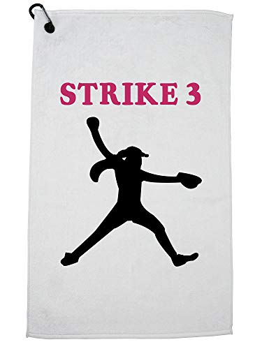 (Hollywood Thread Strike 3 Softball Pitcher Silhouette Colorful Highlights Golf Towel with Carabiner Clip)