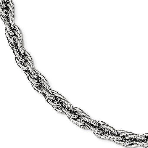 Bracelet Fancy Rope (Saris and Things Stainless Steel Polished Textured Fancy Rope Bracelet 8in)