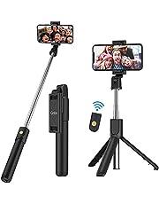 Gritin Selfiepinn, 3-i-1 Bluetooth Selfiepinne Trippod, Utdragbar och Bärbar Selfiepinne med Avtagbar Trådlös Fjärrkontroll och Stabilt Stativställ, Kompatibel med iPhone/Samsung/Huawei, etc.