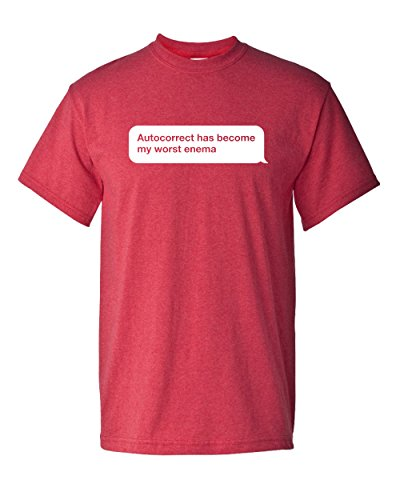 Autocorrect is My Worst Enemy Social Media Cell Phone Family Father Son Mother Daughter Friend Tee Funny Humor Pun Graphic Adult Mens T-Shirt (2XL, Heather Red) -